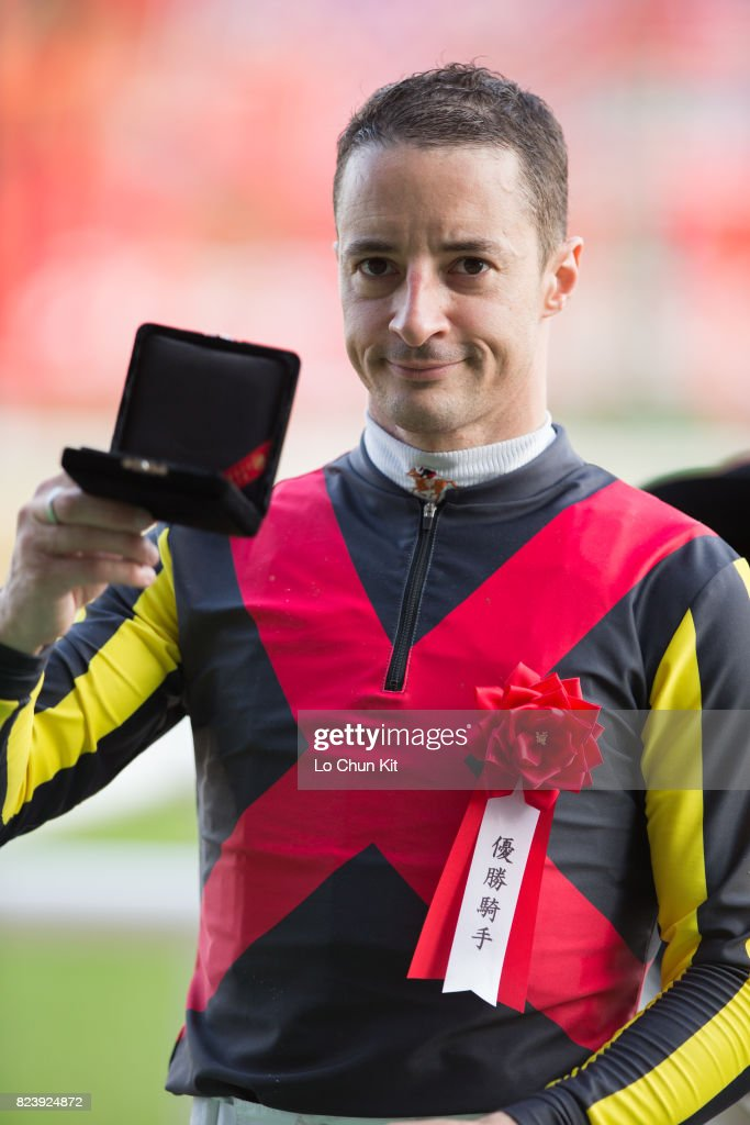Jockey Christophe Lemaire wins Meguro Kinen (G2 2500m) at Tokyo Racecourse on May 28, 2017.
