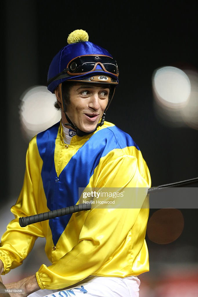 Jockey <a gi-track='captionPersonalityLinkClicked' href=/galleries/search?phrase=Christophe+Soumillon&family=editorial&specificpeople=453308 ng-click='$event.stopPropagation()'>Christophe Soumillon</a> looks on during Super Saturday at Meydan Racecourse on March 9, 2013 in Dubai, United Arab Emirates.