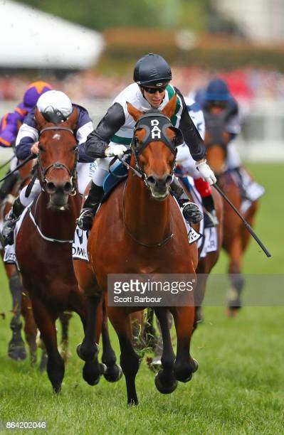 Jockey Cory Parish riding Boom Time celebrates as he wins race 8 The BMW Caulfield Cup during Caulfield Cup Day at Caulfield Racecourse on October 21...