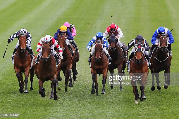 Jockey Craig Newitt rides O'Malley to win race 2 the City Jeep Handicap during Cox Plate Day at Moonee Valley Racecourse on October 22 2016 in...