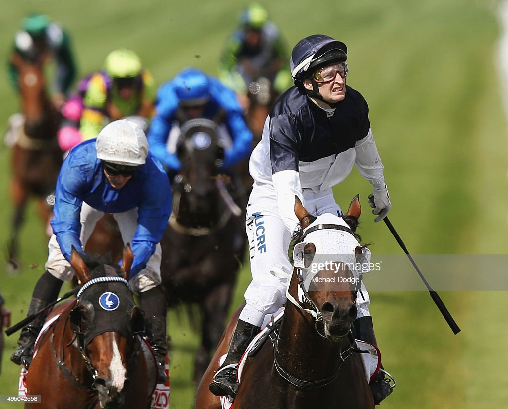 Jockey Craig Newitt riding Tarzino wins race 7 The AAMI Victoria Derby on Derby Day at Flemington Racecourse on October 31 2015 in Melbourne Australia