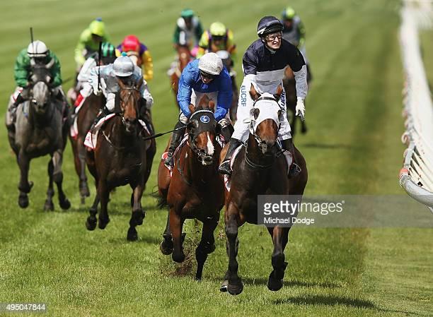 Jockey Craig Newitt riding Tarzino wins race 7 The AAMI Victoria Derby on Derby Day at Flemington Racecourse on October 31 2015 in Melbourne Australia