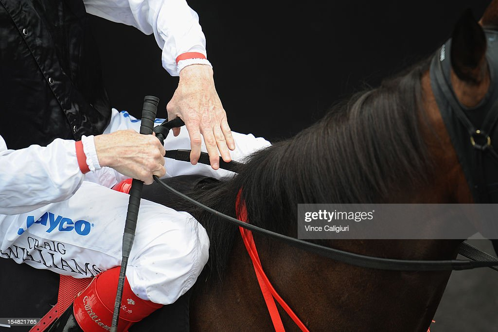 Jockey Craig Williams in the mounting yard during Cox Plate Day at Moonee Valley Racecourse on October 27, 2012 in Melbourne, Australia.