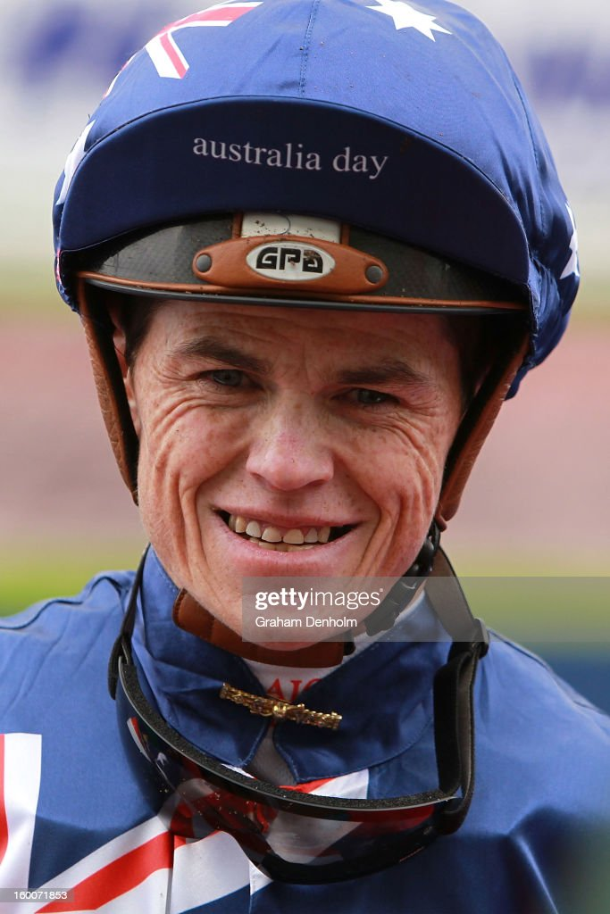 Jockey Craig Williams smiles after riding Summer Gem to victory in race one the Tip Top Butchers Plate during Australia Day Races at Caulfield Racecourse on January 26, 2013 in Melbourne, Australia.