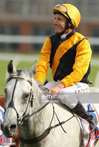 Jockey Damien Oliver riding Alpha Proxima wins Race 4 the Pfd Food Services Handicap at Taralye Race Day at Caulfield Racecourse on May 26 2012 in...