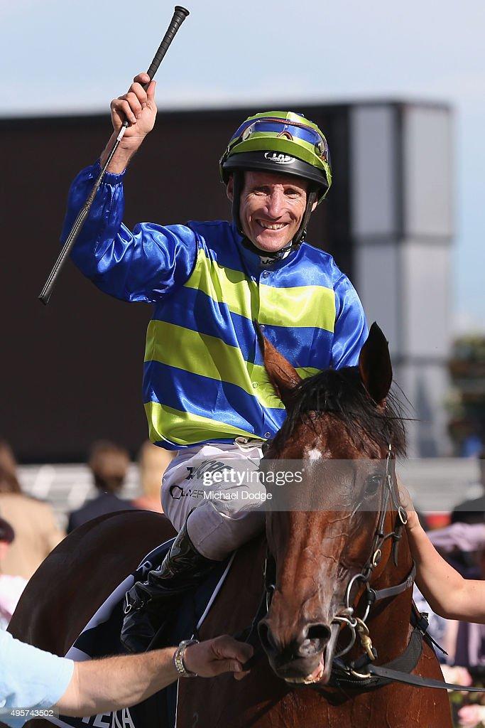 Jockey Damien Oliver riding Jameka returns to scale after winning rave 8 the Crown oaks on Oaks Day at Flemington Racecourse on November 5, 2015 in Melbourne, Australia.