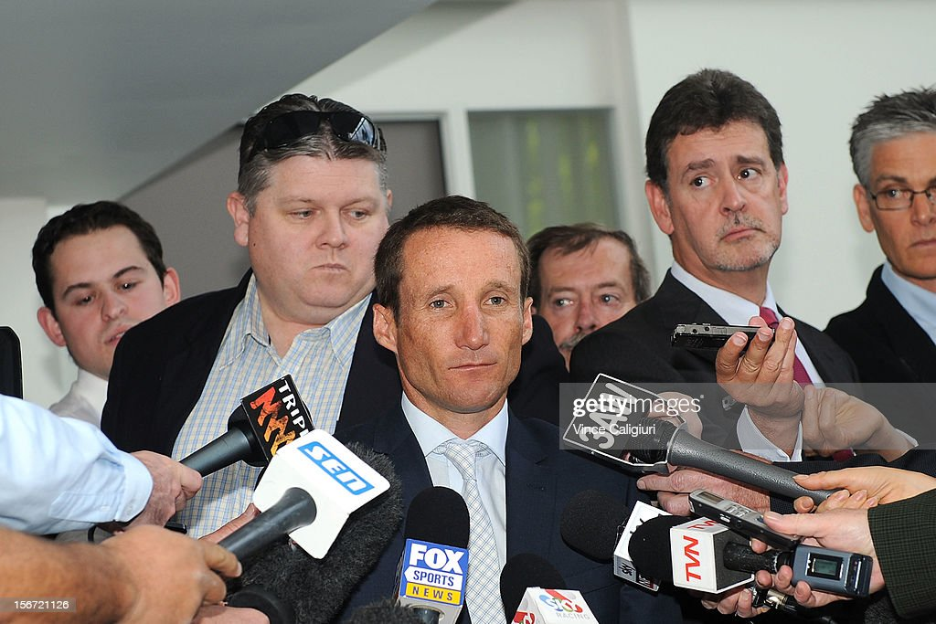 Jockey <a gi-track='captionPersonalityLinkClicked' href=/galleries/search?phrase=Damien+Oliver&family=editorial&specificpeople=210504 ng-click='$event.stopPropagation()'>Damien Oliver</a> speaks to the media following the stewards inquiry into alleged race betting on November 20, 2012 in Melbourne, Australia.