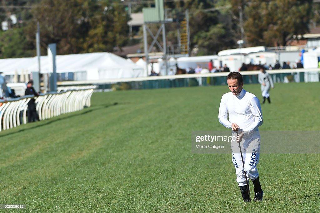 Jockey Damien Oliver walks the track before Grand Annual Day at Warrnambool Race Club on May 5, 2016 in Warrnambool, Australia.