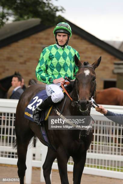 Jockey Daniel Tudhope on Louis The Pious after finishing second in the William Hill Ayr Gold Cup