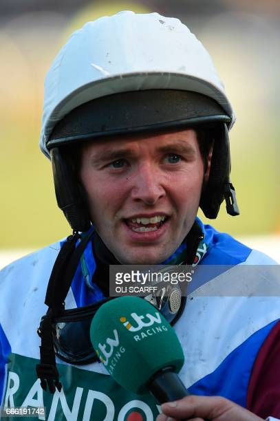 Jockey Derek Fox is interviewed after riding One for Arthur to win the Grand National horse race on the final day of the Grand National Festival...