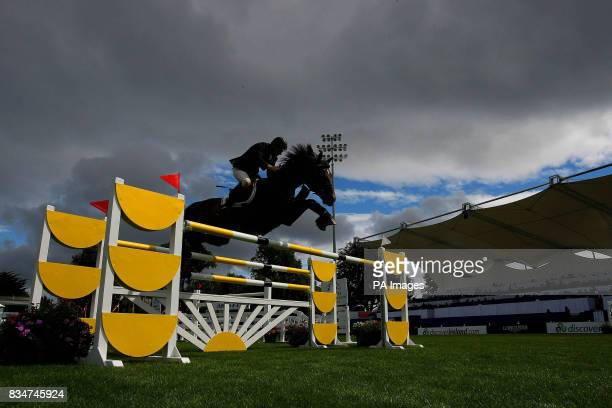 Jockey Dermot Lennon riding Lanceretto in the Irish Sports Council Classic at The Failte Ireland Dublin Horse Show that gets under way at the RDS...
