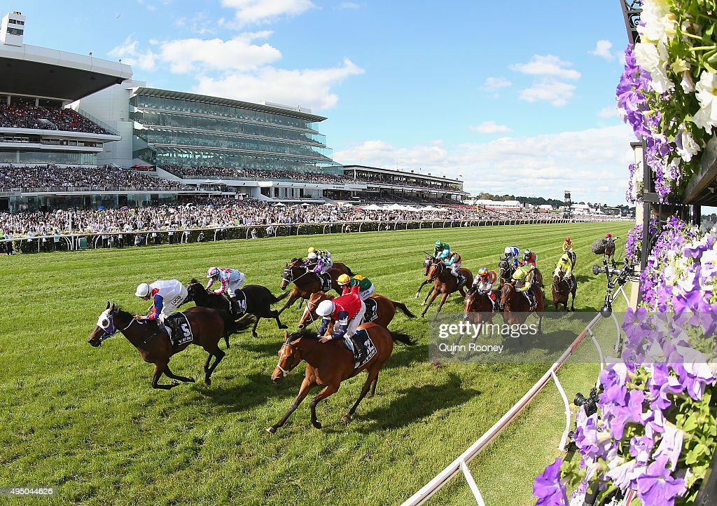 Jockey Dwayne Dunn riding Politeness wins race 8 The Myer Classic on Derby Day at Flemington Racecourse on October 31 2015 in Melbourne Australia