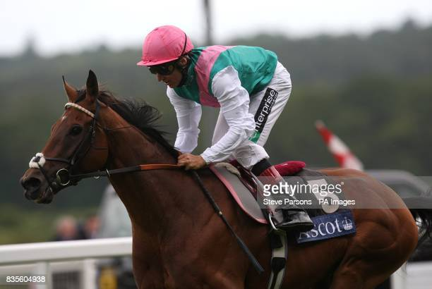 Jockey Eddie Ahern comes home to win the King Edward VII Stakes on Father Time at Ascot Racecourse Berkshire