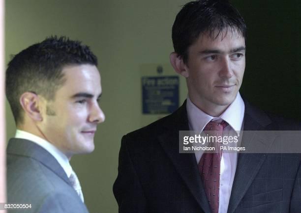 Jockey Fergal Lynch left and Darren Williams arrive at the Horseracing Regulatory Authority today