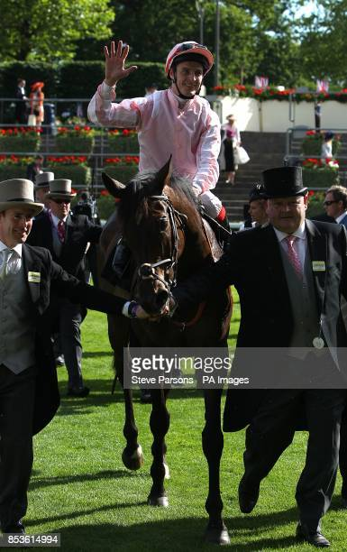 Jockey Fran Berry celebrates winning the Ascot Stakes on Domination during Day One of the 2014 Royal Ascot Meeting at Ascot Racecourse Berkshire