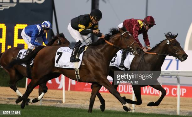 Jockey FrancoisXavier Bertras rides Thunder Snow to win the alQuoz Sprint at the Dubai World Cup in the Meydan Racecourse on March 25 2017 in Dubai /...