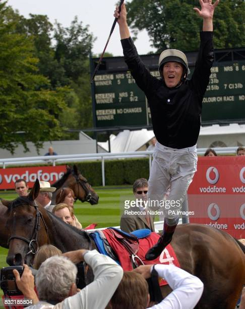 Jockey Frankie Dettori celebrates after winning The Vodafone Nassau Stakes on Ouija Board at Goodwood racecourse