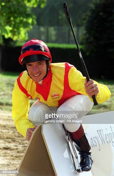 Jockey Frankie Dettori launching a new device EasyWeigh from the Royal Mail in Hyde Park London to enable people to check the weight of mail they...