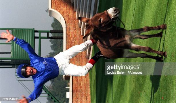 Jockey Frankie Dettori leaps of Nutmeg the donkey today in the Winners' Enclosure at Ascot as he recreates his winning moment from last year after he...