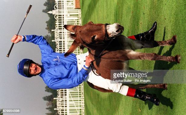 Jockey Frankie Dettori poses on Nutmeg the donkey today in the Winners' Enclosure at Ascot as he recreates his winning moment from last year after he...