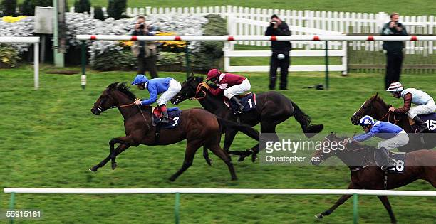 Jockey Frankie Dettori riding Bold Crusader wins The Thoroughbred Breeders Association Median Auction Maiden Stakes at Newmarket Race Course on...