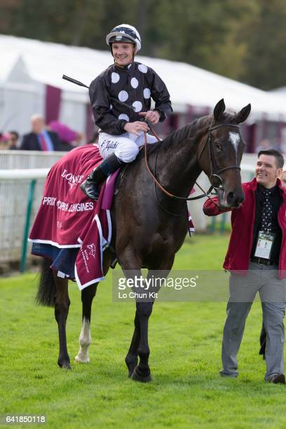 Jockey Frederik Tylicki riding Speedy Boarding wins the Race 3 Prix de l'Opera at Chantilly Racecourse on October 2 2016 in Chantilly France
