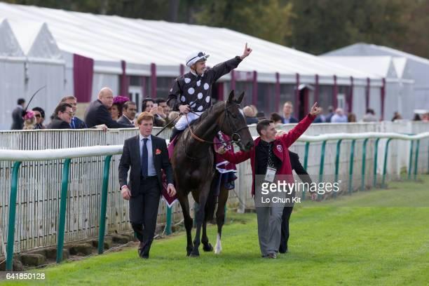 Jockey Frederik Tylicki riding Speedy Boarding wins the Race 3 Prix de l'Opera at Chantilly Racecourse on October 2 2016 in Chantilly France