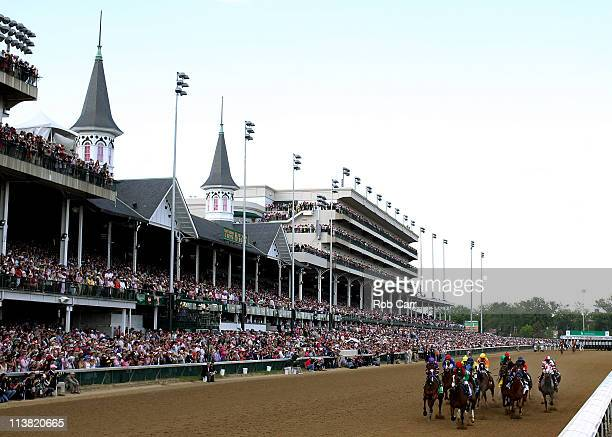 Jockey Gabriel Saez riding Summer Soiree leads the field down the front stretch at the start of the 137th Kentucky Oaks at Churchill Downs on May 6...