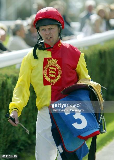 Jockey Gary Carter walks back to the changing room after riding Goodwood Finese in the Baileys Horse Feed Fillies' Handicap Stakes at Newbury The...