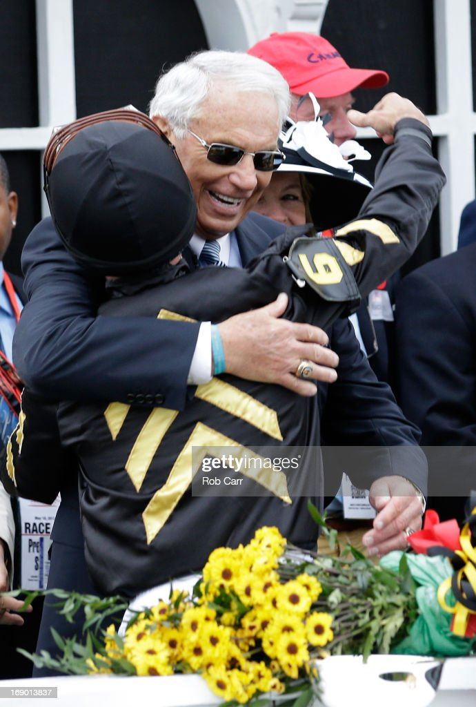 Jockey <a gi-track='captionPersonalityLinkClicked' href=/galleries/search?phrase=Gary+Stevens+-+Jockey&family=editorial&specificpeople=15617910 ng-click='$event.stopPropagation()'>Gary Stevens</a> hugs trainer D. Wayne Lucas celebrate in Winner's Circle after their horse, Oxbow #6 won the 138th running of the Preakness Stakes at Pimlico Race Course on May 18, 2013 in Baltimore, Maryland.