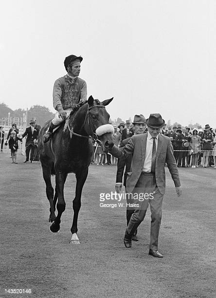 Jockey Geoff Lewis on the Queen's racehorse Magna Carta after winning the Ascot Stakes at the Royal Ascot meeting 16th June 1970