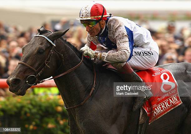 Jockey Gerald Mosse riding Americain wins the Emirates Melbourne Cup during Melbourne Cup Day at Flemington Racecourse on November 2 2010 in...