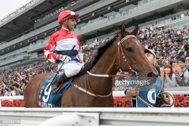 Jockey Gerald Mosse riding Joyful Trinity finishing second in Stewards' Cup at Sha Tin Racecourse on January 30 2017 in Hong Kong Hong Kong