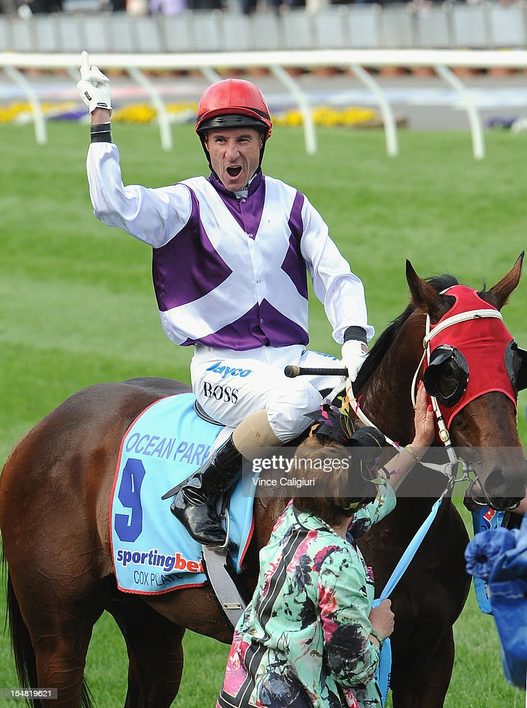 Jockey <a gi-track='captionPersonalityLinkClicked' href=/galleries/search?phrase=Glen+Boss&family=editorial&specificpeople=194758 ng-click='$event.stopPropagation()'>Glen Boss</a> riding Ocean Park celebrates winning the Sportingbet Cox Plate during Cox Plate Day at Moonee Valley Racecourse on October 27, 2012 in Melbourne, Australia.