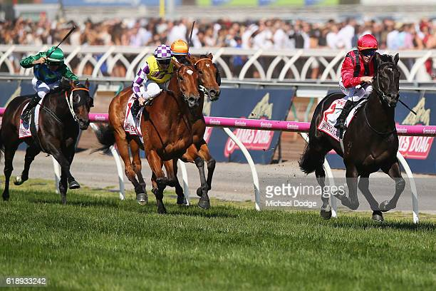 Jockey Glyn Scholfield riding Prized Icon wins race 7 The AAMI Victoria Derby on Derby Day at Flemington Racecourse on October 29 2016 in Melbourne...