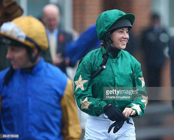Jockey Hayley Turner makes her way to the parade ring at Lingfield Park on October 29 2015 in Lingfield England