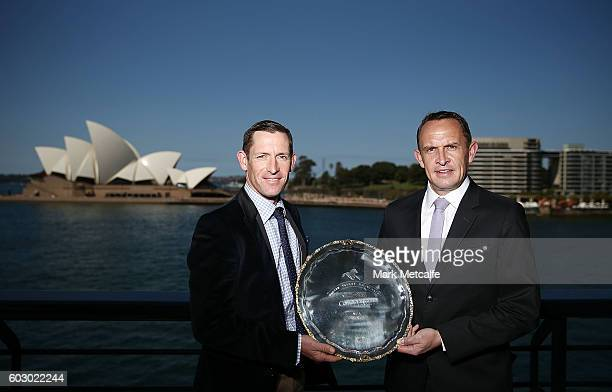 Jockey Hugh Bowman and trainer Chris Waller pose with the Cox Plate during the Cox Plate Carnival Media Opportunity at Quay Restaurant on September...