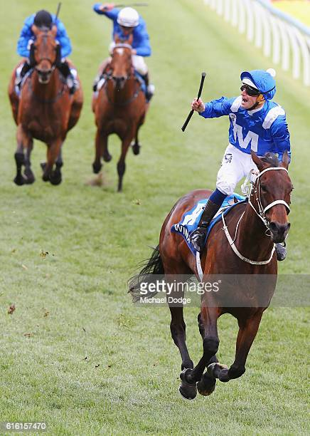 Jockey Hugh Bowman rides Winx to win race 9 the William Hill Cox Plate during Cox Plate Day at Moonee Valley Racecourse on October 22 2016 in...