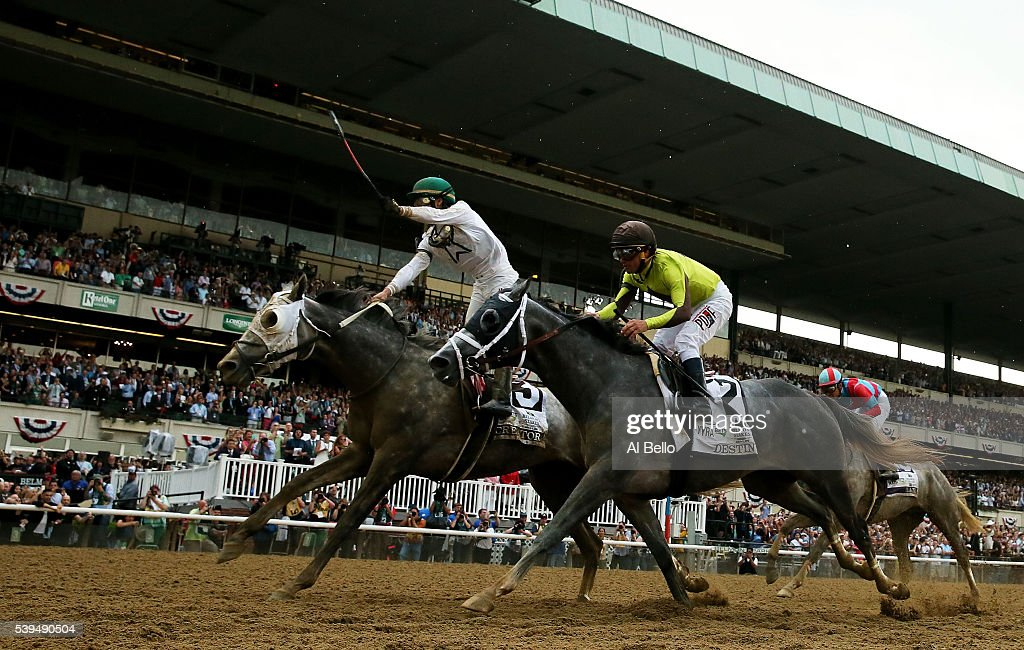 Jockey Irad Ortiz Jr celebrates atop Creator after as Destin with jockey Javier Castellano up follow winning The 148th running of the Belmont Stakes...