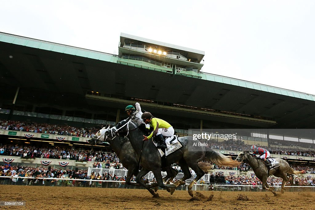 Jockey Irad Ortiz Jr celebrates atop Creator after as Destin with jockey Javier Castellano up follow after winning The 148th running of the Belmont...