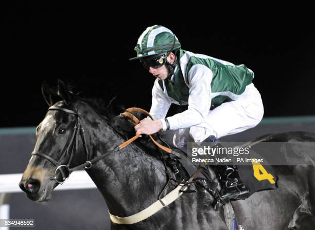 Jockey James O'Reilly on Greek Secret during the Book Kempton Tickets On 0844 579 3008 Classified Stakes at Kempton Park Racecourse London