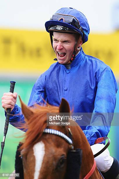 Jockey Jamie McDonald riding Archives returns to scale after winning race 4 the Telstra Phoneworlds Stakes during Cox Plate Day at Moonee Valley...