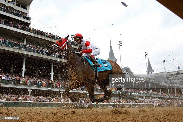 Jockey Javier Castellano rding Derby Kitten during the 137th Kentucky Derby at Churchill Downs on May 7 2011 in Louisville Kentucky