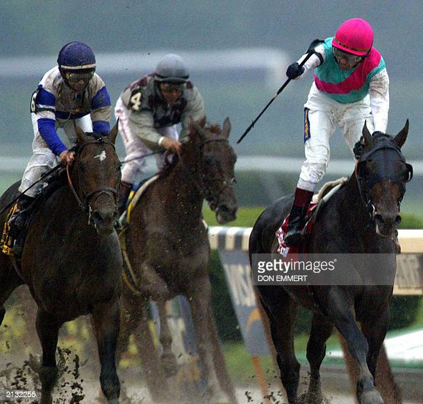 Jockey Jerry Bailey aboard Empire Maker celebrates after winning the Belmont Stakes 07 June 2003 in Elmont NY Empire Maker ruined Funny Cide's hopes...