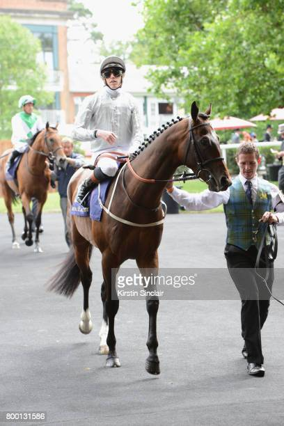 Jockey Jim Crowley rides horse Mistress of Venice on day 4 of Royal Ascot at Ascot Racecourse on June 23 2017 in Ascot England