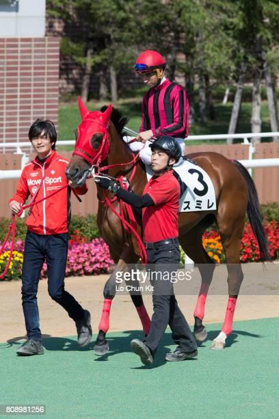 Jockey Joao Moreira riding Sumire during the Race 1 at Sapporo Racecourse on August 29 2015 in Sapporo Hokkaido Japan