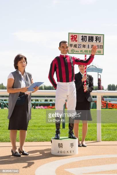Jockey Joao Moreira with Sumire winning the Race 1 at Sapporo Racecourse on August 29 2015 in Sapporo Hokkaido Japan Jockey Moreira celebrates after...