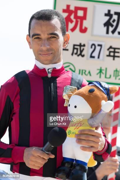 Jockey Joao Moreira with Sumire winning the Race 1 at Sapporo Racecourse on August 29 2015 in Sapporo Hokkaido Japan Jockey Joao Moreira celebrates...