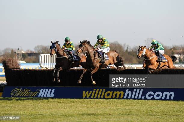 Jockey Jockey Jamie Moore on Panjo Bere and Felix de Giles on Busy Isit during the William Hill App 25 SignUp Bonus Handicap Chase