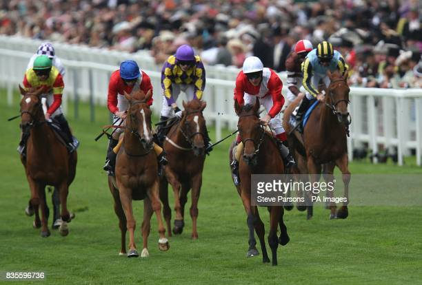 Jockey Johnny Murtagh comes home to win the Windsor Forest Stakes on Spacious at Ascot Racecourse Berkshire